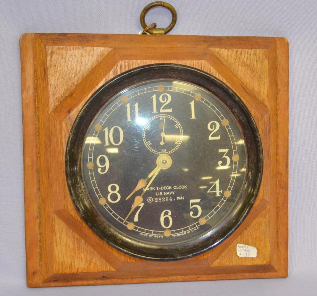 Antique Seth Thomas Mark I US Navy Deck Clock