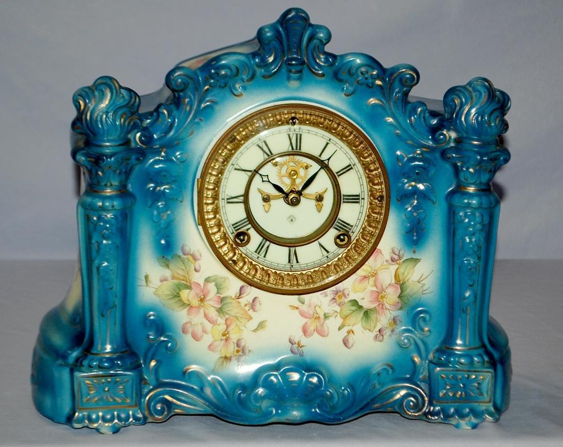 """Antique Ansonia """"Register"""" Porcelain Clock"""