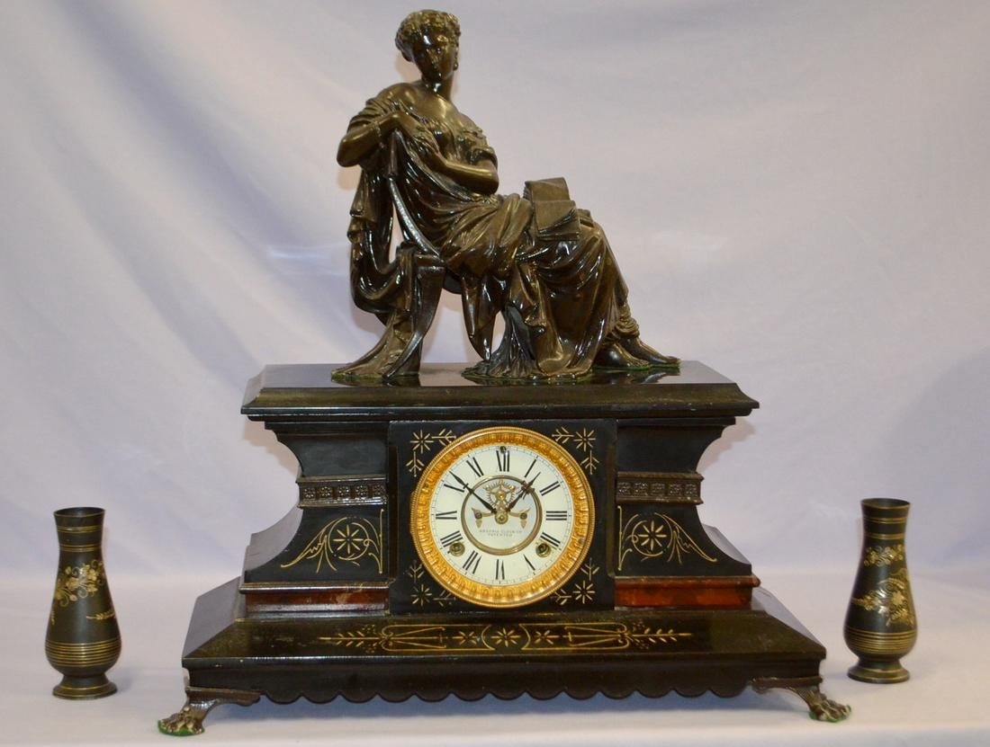 Antique Ansonia Iron Case with Statue Clock