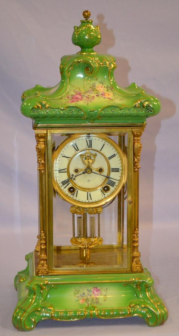 Antique Ansonia No.6 Crystal Reg. Porcelain Clock