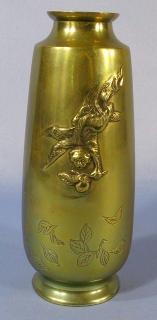 505: Japanese Bronze Vase w/a Monkey & Fruit