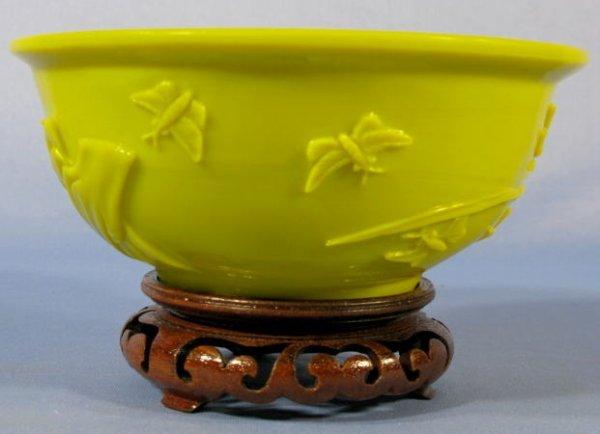 508: Yellow Peking Glass Bowl w/Carved Flowers