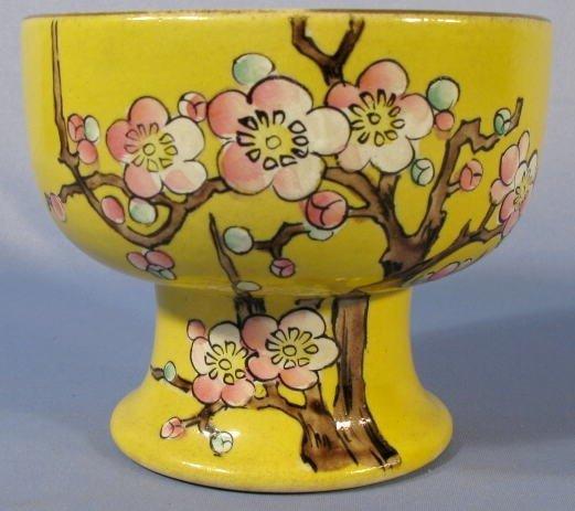509: Pottery Stemmed Bowl w/Yellow Glaze