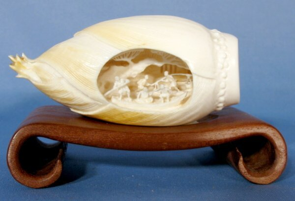 513: Carved Ivory Squash Blossom w/Interior Scene