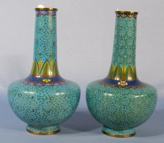 514: Pr. Chinese Cloisonne Bottle Form Vases