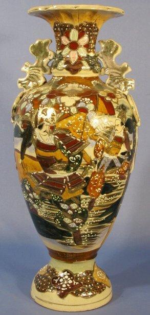 518: Japanese Pottery Vase w/Warriors & Flowers