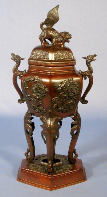 519: Bronze Covered Vase w/Foo Finial