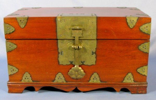 520: Chinese Mahogany Box w/Lock & Brass Supports