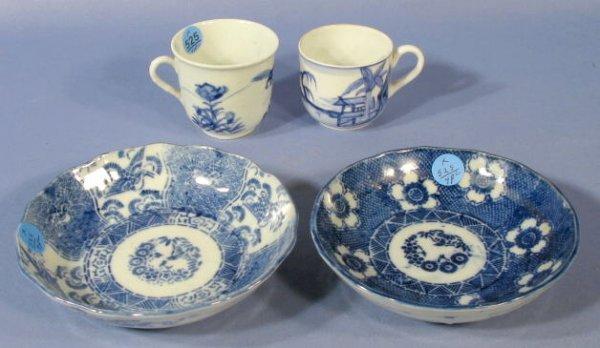 525: 2 Cups & 2 Dishes w/Underglaze Blue Designs