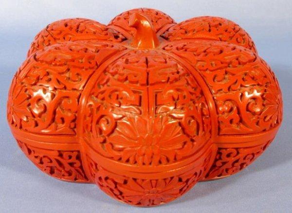 580: Red Cinnabar Gourd Shaped Box