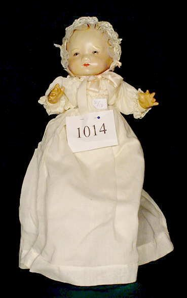 1014: Unmarked Tin Head Doll Compo Hands NR
