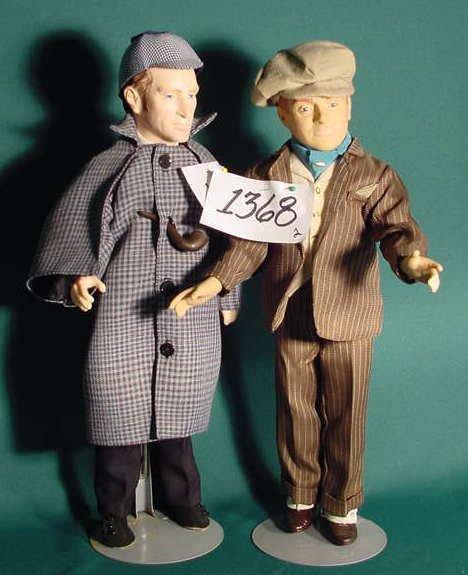 1368: 2 Plastic Effanbee Dolls Sherlock Holmes & Cagney