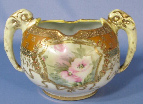 1006: Nippon Flower Bowl w/Dolphin Handles - 2