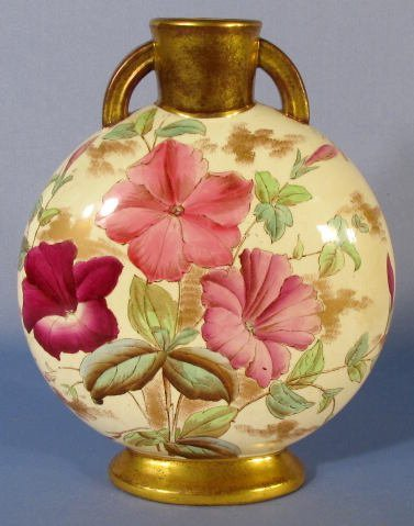 1014: Adderley Pottery Vase w/Painted Floral Designs