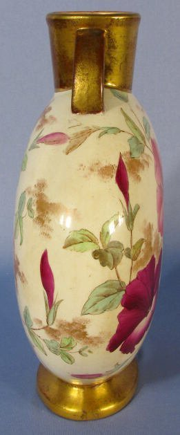1014: Adderley Pottery Vase w/Painted Floral Designs - 2