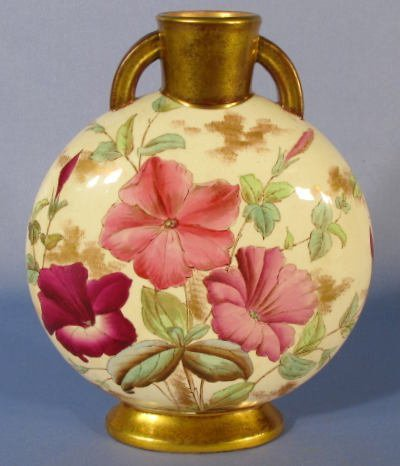 1014: Adderley Pottery Vase w/Painted Floral Designs - 3