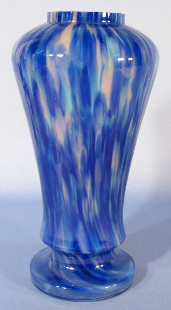 1015: Pink & Blue Mottled Glass Vase