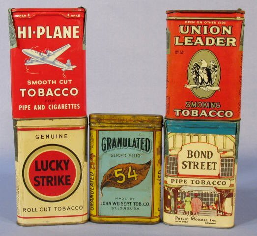 8: Group of 5 Advertising Tobacco Pocket Tins