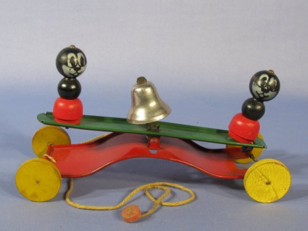 10: Metal Pull Bell Toy w/Wooden Wheels