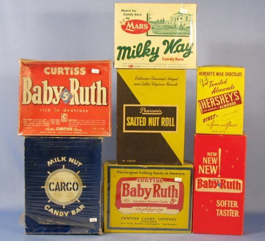 11: Group of 7 Cardboard Candy Boxes