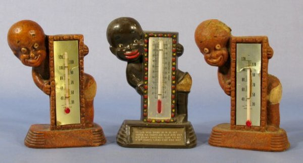 14: Group of 3 Black Collectible Figural Thermometers