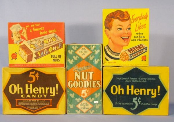 20: Group of 5 Cardboard Candy Bar Boxes