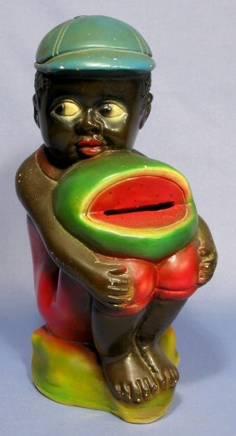 21: Chalkware Black Boy w/Watermelon Bank