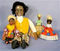 175: Group of 3 Black Dolls & 1 Dummy