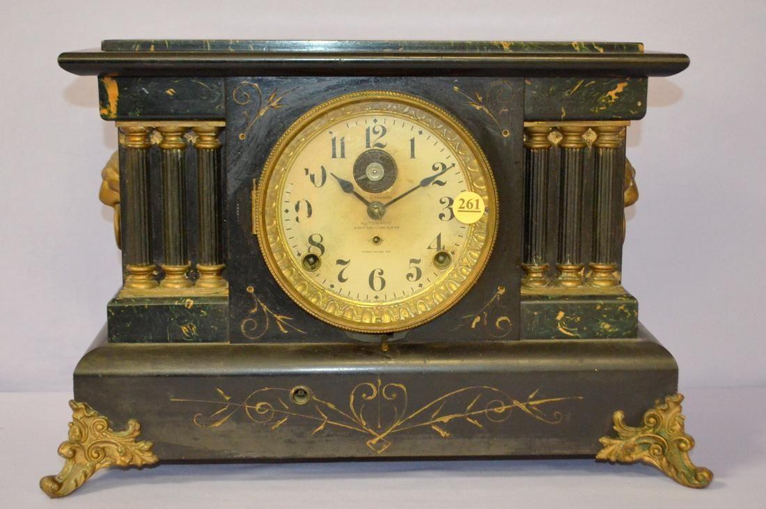 Antique Seth Thomas Adamantine Alarm Mantle Clock