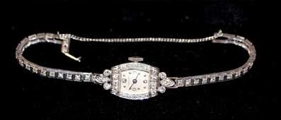 Platinum/Diamond Hamilton Ladies 17J Wrist Watch