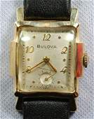14K YG Bulova 17J Mens Wrist Watch