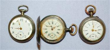 Lot of 3 Small Womens Pocket Watches