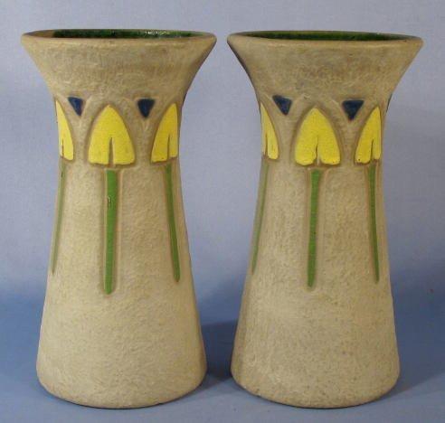 2: Pair Roseville Pottery Mostique Vases