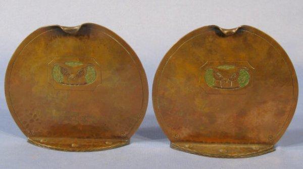 4: Pair Roycroft Copper Owl Bookends