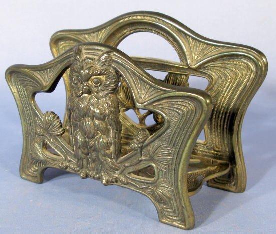 7A: Art Nouveau Owl & Pine Cone Letter Stand