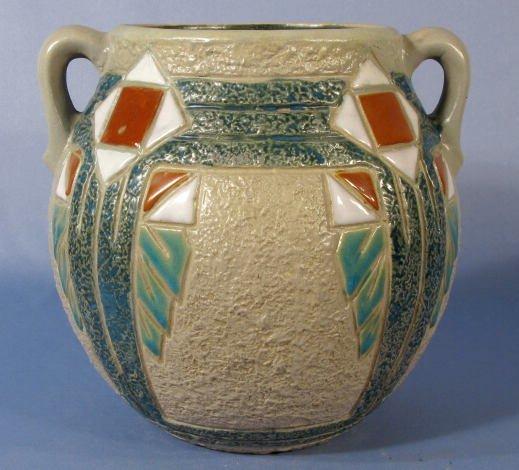 """9: Roseville Pottery Mostique No.534-8"""" Handled Vase"""