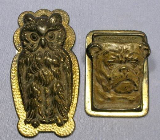 10: 2 Cast Iron Figural Paper Clips: Owl & Bulldog