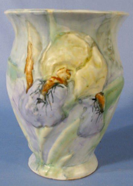 19: Weller Pottery Silvertone Vase w/Iris Flowers