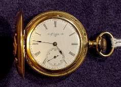 2050: Elgin 3 Color Gold Hunting Pocket Watch NR
