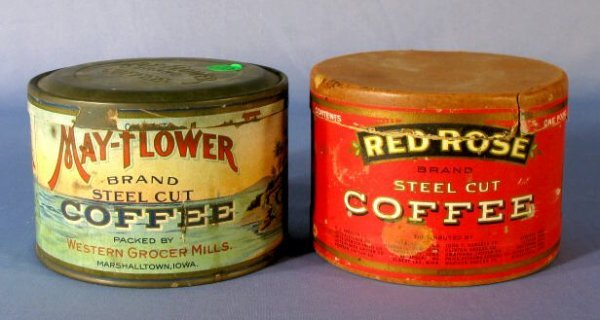 1: 2 Tin & Paper 1lb. Coffee Containers