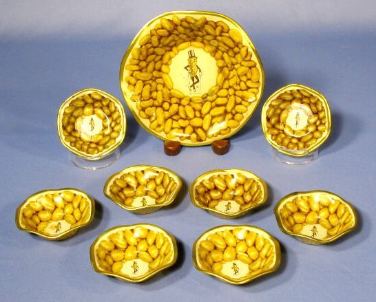 2: 9pc Tin Litho Planters Peanuts Nut Set