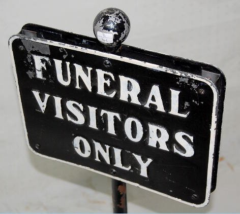 """10: Metal Double Sided """"Funeral Visitors"""" Sign - 3"""