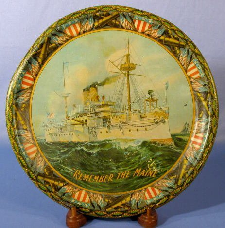 """19: Tin Litho """"Remember The Maine"""" Serving Tray"""