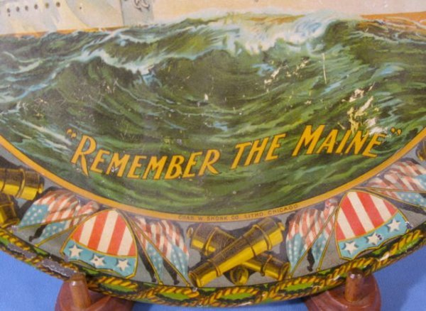 "19: Tin Litho ""Remember The Maine"" Serving Tray - 3"