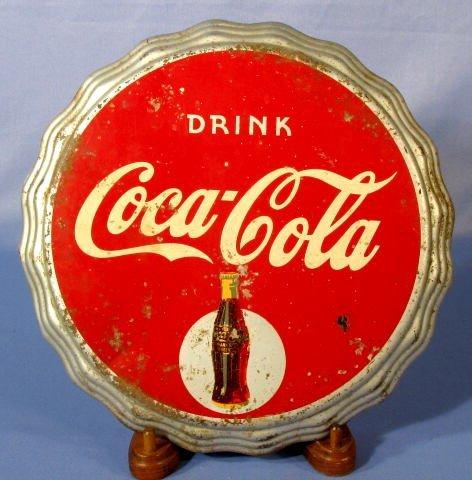 20: Coca Cola Tin Bottle Cap Sign