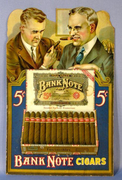 21: Bank Note Cigars Cardboard Display Sign