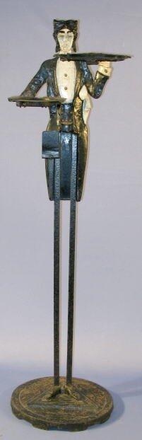 22: Antique Cast Iron Silent Butler Smoking Stand