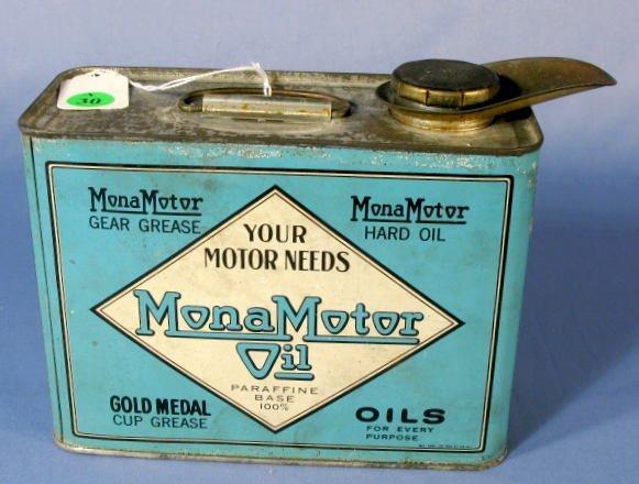 30: Tin Litho Mona Motor Oil Container