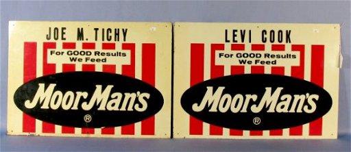 261: 2 Moormans Feed Metal Signs