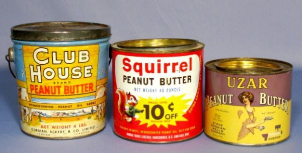 380: Group of 3 Tin Litho Peanut Butter Tins